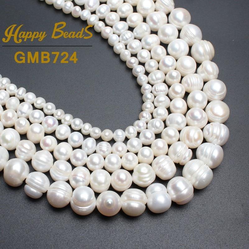 """Perlas redondas perlas blancas de agua dulce natural para hacer la joyería collar pulsera 15 """"4 mm 6 mm 8 mm 9 mm 10 mm 11 mm envío gratis"""