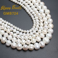 """Natural Fresh water White Pearl Round Beads For Jewelry Making Bracelet Necklace 15""""4mm 6mm 8mm 9mm 10mm 11mm Free Shipping"""