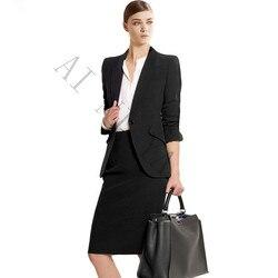 أسود المرأة تنورة بذلات أنيقة مع تنورة القطن المخلوطة سترة + تنورة سترة 2 أجزاء مجموعة للنساء ضئيلة الإناث مكتب موحدة