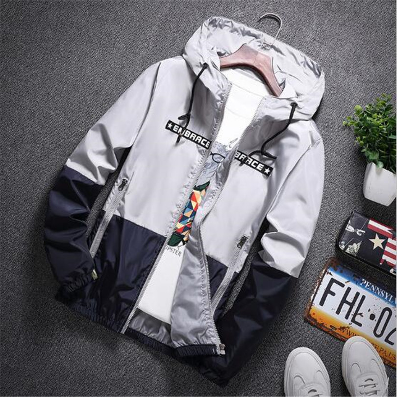 New Spring Autumn Bomber Hooded Jacket Men Casual Slim Patchwork Windbreaker Jacket Male Outwear Zipper Thin Coat Brand Clothing #4