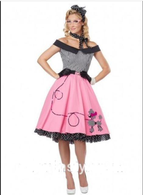 US $23.65 9% OFF|Plus Size 6XL 1950s 50s Grease Sweetheart Poodle Dress  1950s Grease Fancy Dress Ladies Rock N Roll Skirt Pink Lady Costume on ...
