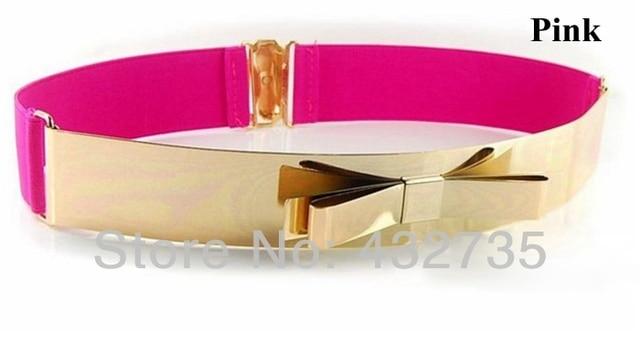 новый cinto мода женский ремни с золотом металлических галстук-бабочку пряёка корсет эластичный пояс талии розовый красный пояс для женщин платья