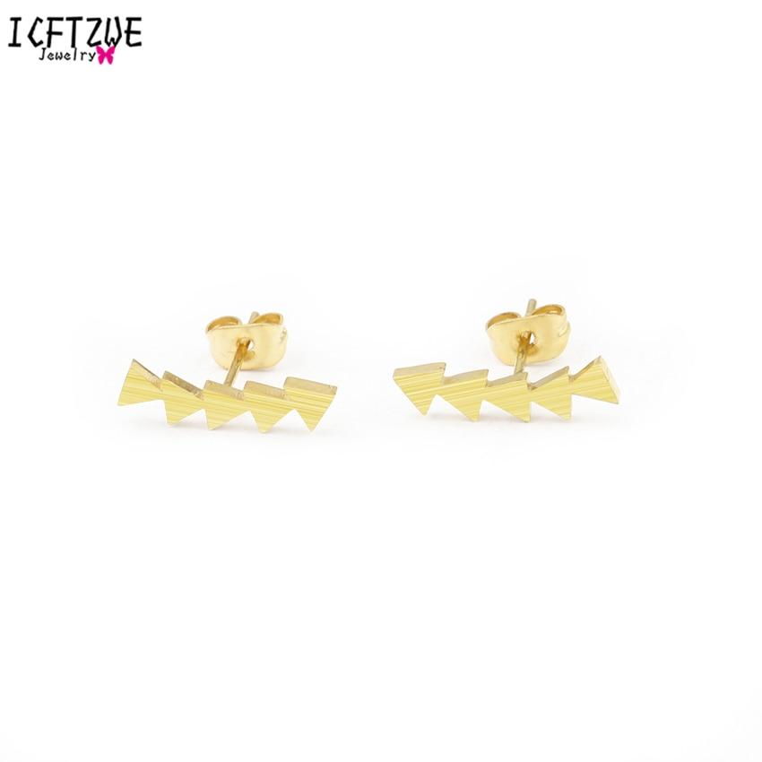 ICFTZWE Brincos Triangle Line Ear Stud Stainless Steel Earrings Fashion Jewelry Boucle d'oreille Earrings For Women