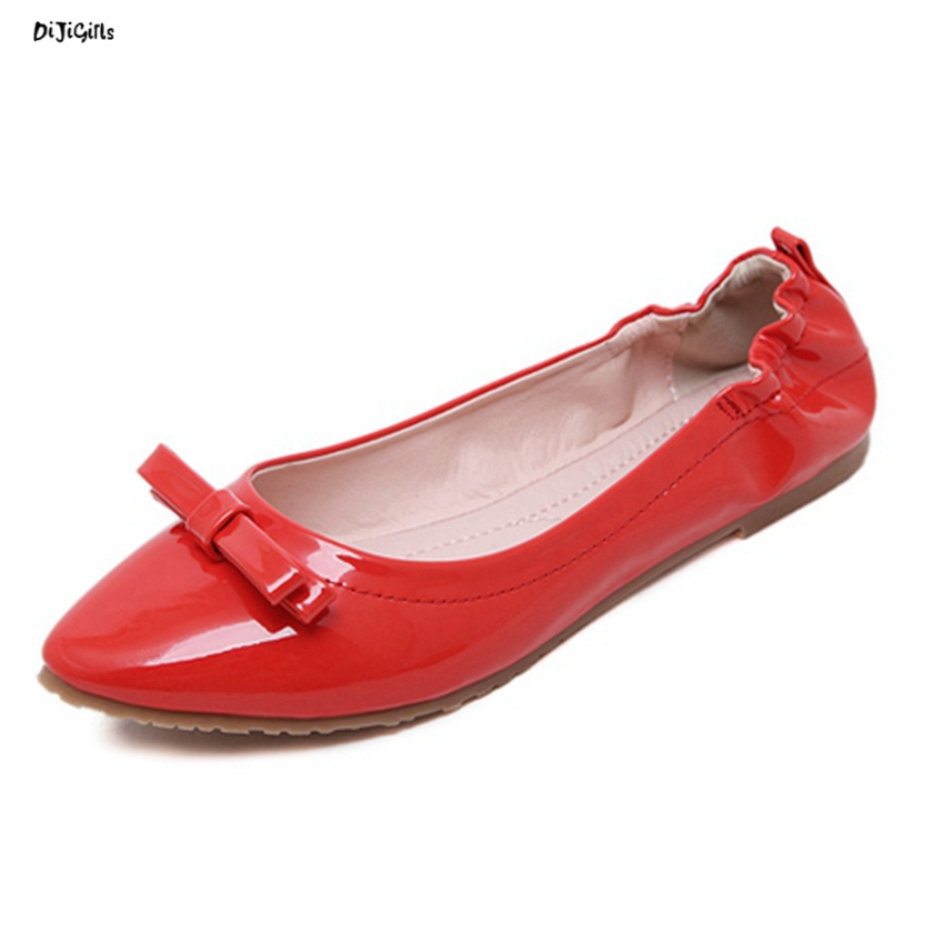 Women Fashion Bowtie Patent Leather Pointed Toe Slip On Ballet Flats Soft Comfortable Shoes Woman Mak819-1 2017 new fashion women summer flats pointed toe pink ladies slip on sandals ballet flats retro shoes leather high quality