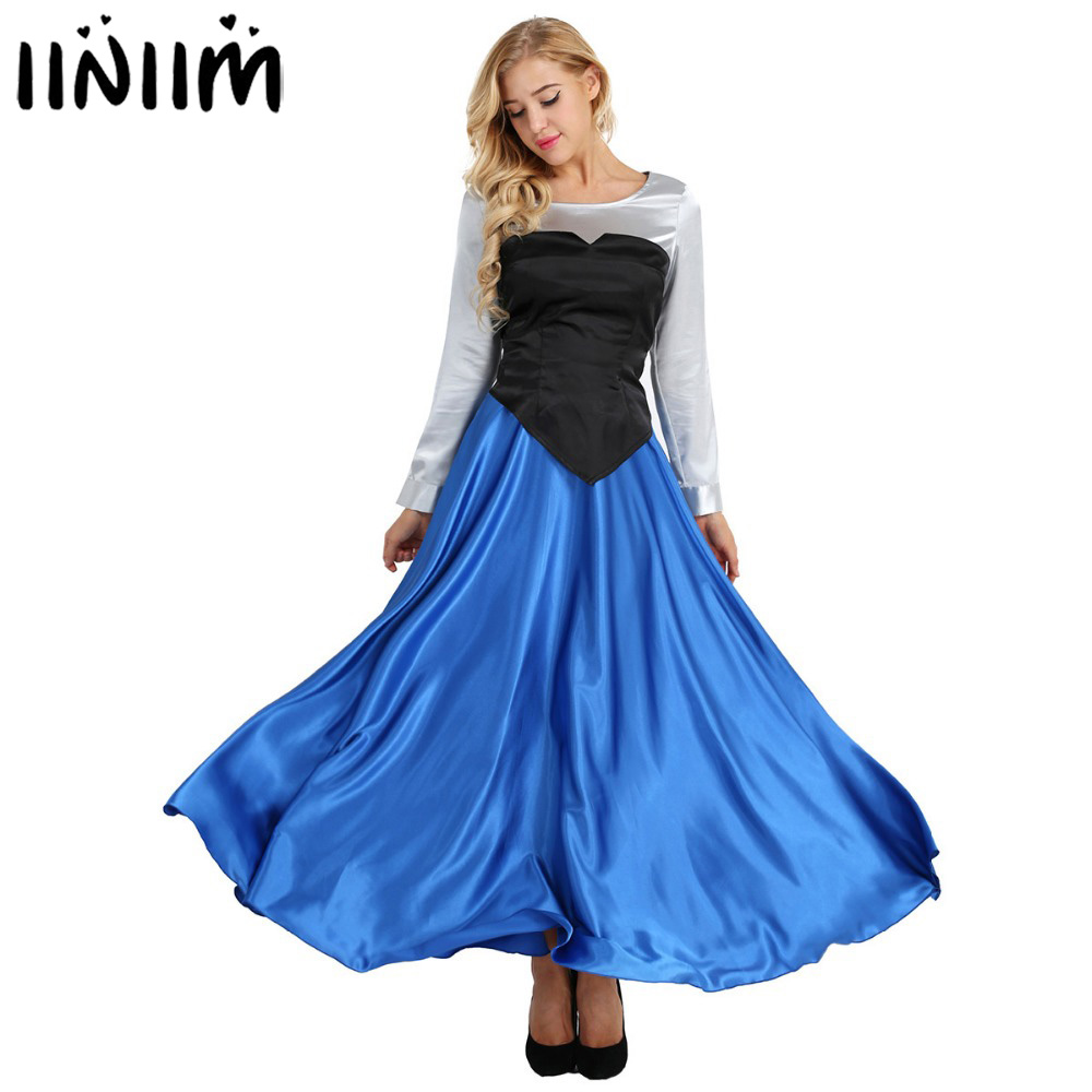 iiniim Adult Ariel Cosplay Princess Fancy Party Dress Ball Gown Halloween Costumes for Women Shirt with Strapless Top and Skirt