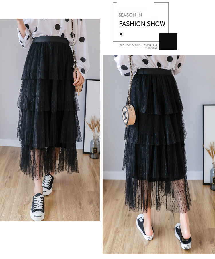 Fitaylor Spring New Sweet Cake Layered Long Mesh Skirts Princess High Waist Ruffled Vintage Tiered Tulle Pleated ins Skirts 10