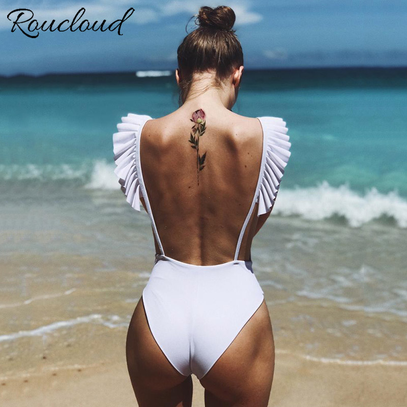 2019 New Ruffle One Piece Swimsuit Sexy Solid Swimwear Women Backless Bodysuit Print Monokini Bathing Suit Beach Wear Female 2018 new one piece swimsuit women swimwear retro bathing suit vintage monokini plus size swimwear female bodysuit beach wear xxl