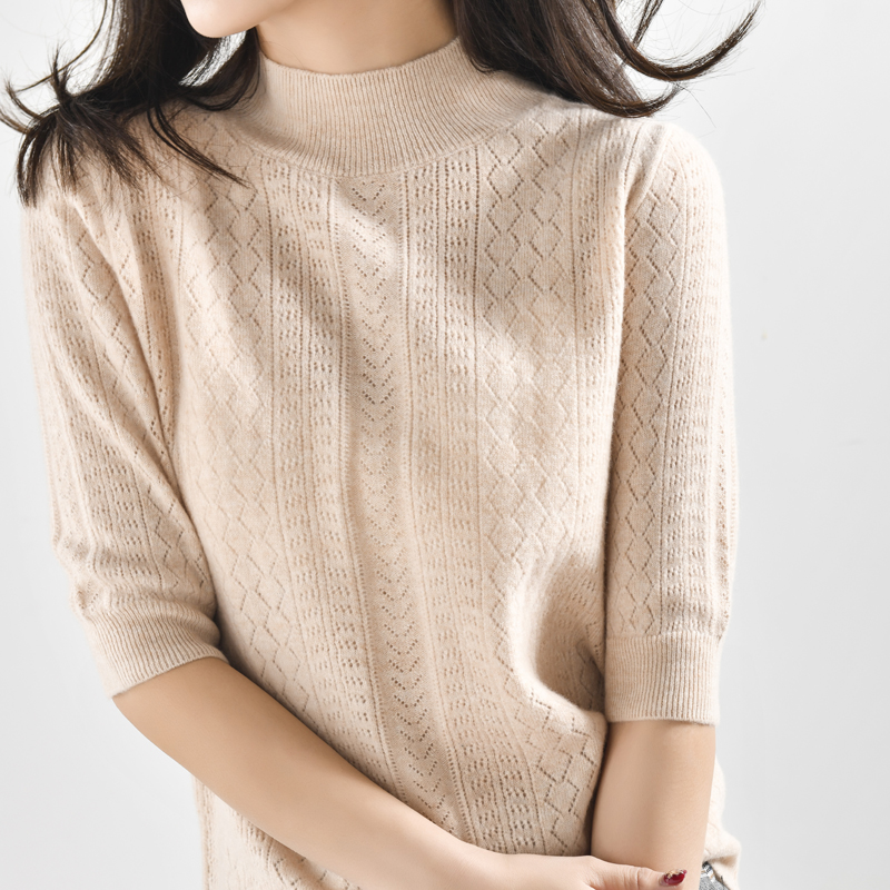 High end Pure Merino Women 100 Wool Short Sleeve Sweater Turtleneck Knitted Hallow Out Shirt Pullover