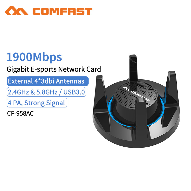 RTL8814AU 802.11 B/g/n/AC 1900Mbps Gigabit USB3.0 5.8Gh Wireless WiFi Adapter 4x 3dBi WiFi Antenna For Windows 7/8/10
