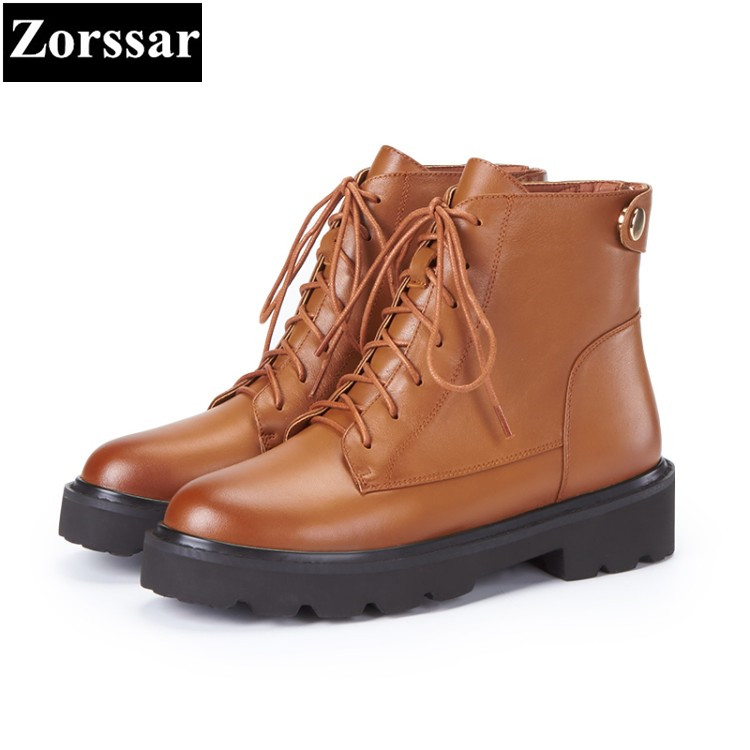 все цены на {Zorssar} 2018 NEW fashion Med heel lace up platform short Boots Genuine leather women ankle Martin boots winter warm women shoe онлайн