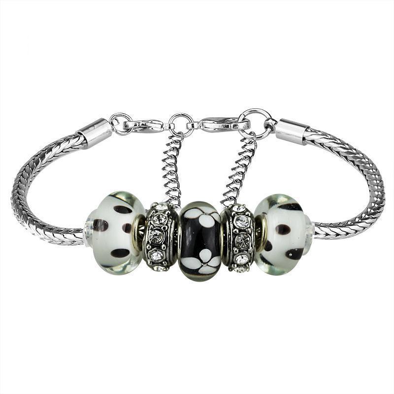 Macrame Bracelet European Women DIY Murano Charms Bracelets Bangles Wholesale Cheap Lampwork Glass Bead and Lobster Clasp