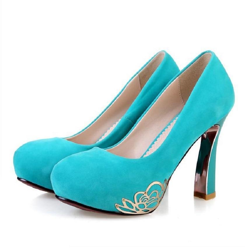 ФОТО Woman Metal buckles Round Toe Women's pumps shoes sexy waterproof platform with chunky heels Pumps DW-19