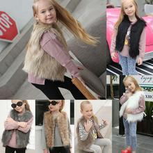 Новинка года; популярные теплые согревающие жилеты унисекс без рукавов для детей зимняя верхняя одежда; пальто куртка для малышей с искусственным мехом