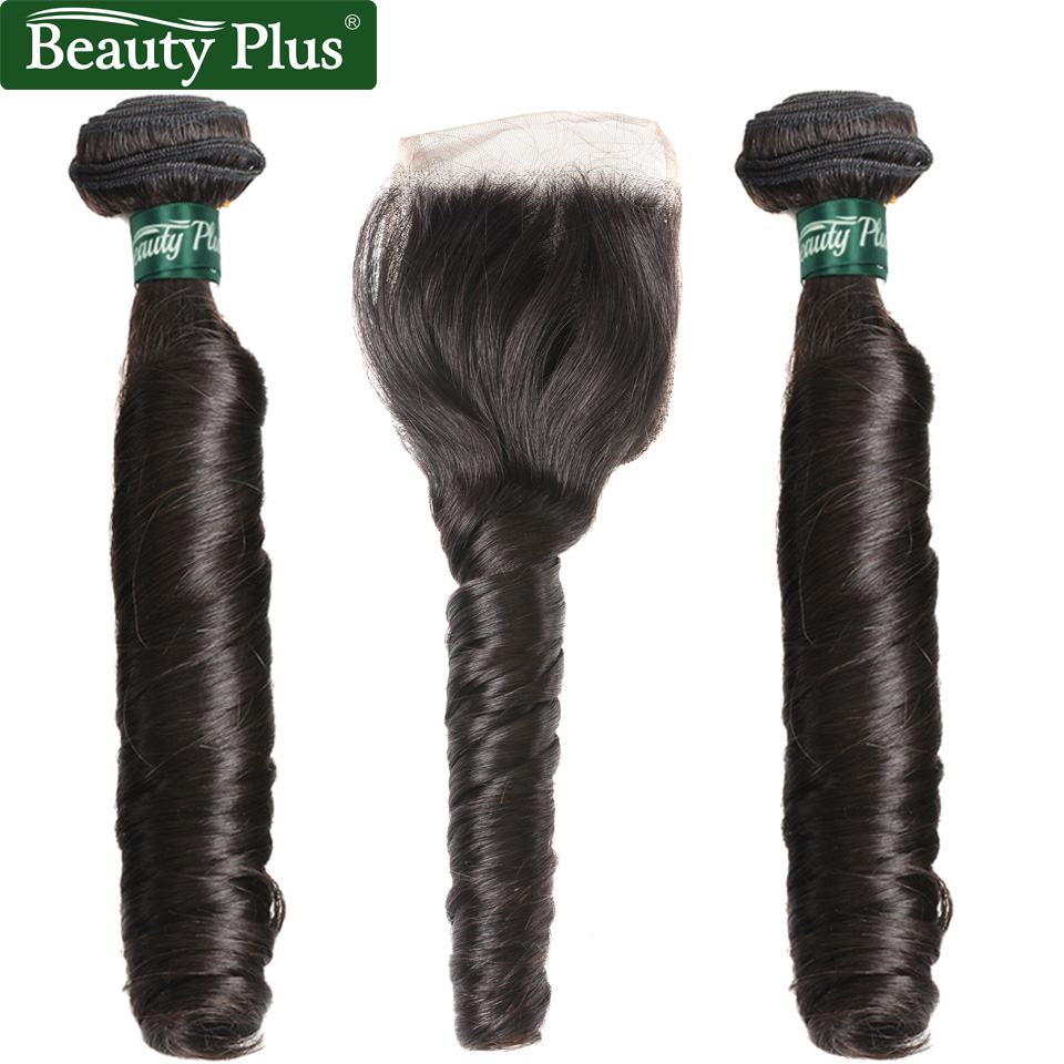 French Curly 2 Bundles With Closure Beauty Plus Nonremy Hair Romantic Egg Curl Brazilian Human Hair Weave Bundles With Closure