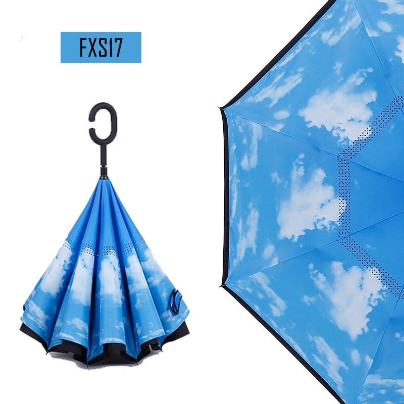 ee0ed9ecced3 LIKE RAIN Double Layer Inverted Umbrella Self Stand Long-Handled Windproof  Umbrellas Rain Women Reverse Car Umbrellas UBY52