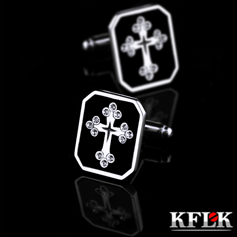 KFLK Jewelry Brand Black Cuff Links Wholesale Button Crystal High Quality Cross French Shirt Cufflinks For Mens Free Shipping
