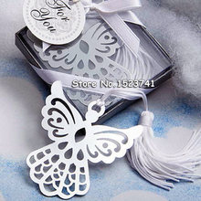 Silver Angel Bookmark for Baptism Baby Shower Souvenirs Party Christening Giveaway Gift Wedding Gifts for guest 50pcs gift box(China)