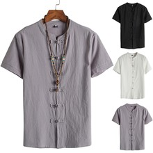 Fashion Retro T Shirts Casual short sleeve Tops Men's Cotton Linen Solid Color Short Sleeve