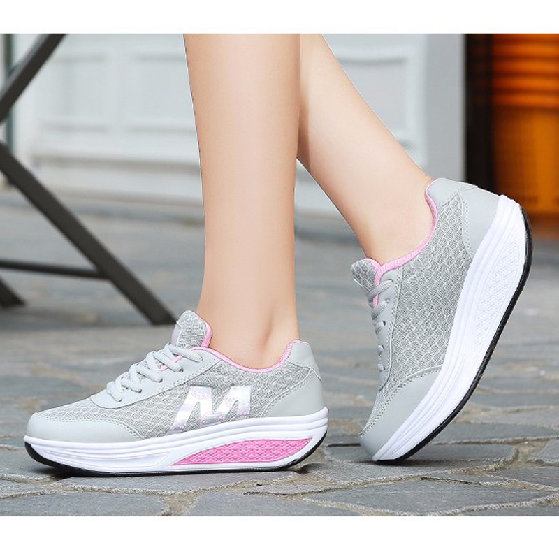 Slimming-Shoes Weight-Sneakers Fitness Swing Women Platform Lose Breathable Mesh Female