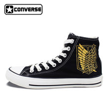 d5332a170823 Anime Attack On Titan Design Converse All Star Shoes Custom Wings Jiyuu no  Tsubasa Hand Painted High Top Black Canvas Sneakers