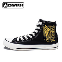 Anime Attack On Titan Design Converse All Star Shoes Custom Wings Jiyuu no Tsubasa Hand Painted High Top Black Canvas Sneakers