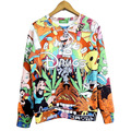 Unisex Women Men 3D Cartoon Sweatshirts Super Mario Drugs Crewneck Weed Leaf Print Hoodies Spring Autumn Pullover Plus size