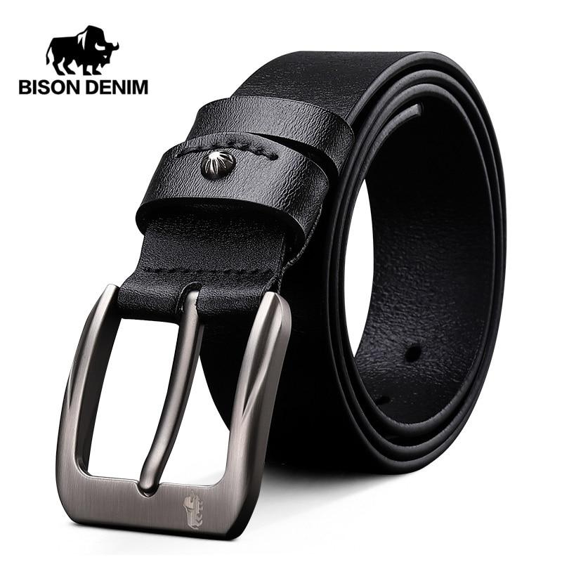 BISON DENIM Men Belt Cow Genuine Leather Luxury Strap Male Belts For Men New Fashion Gift Leather Belt Vintage Pin Buckle N71325