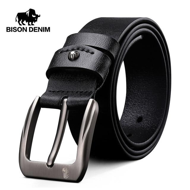 $ US $14.18 BISON DENIM Men Belt Cow Genuine Leather Luxury Strap Male Belts for Men New Fashion Gift Leather Belt Vintage Pin Buckle N71325