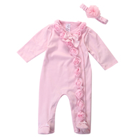 Infant Baby Kids Girls Pink Long Sleeve Rompers Clothing Spring Fall Outfits Newborn Baby Girls Romper