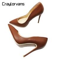 Craylorvans 12 10cm Heel Height Women Shoes NEW FASHION High Heels For Women Brown Color Women