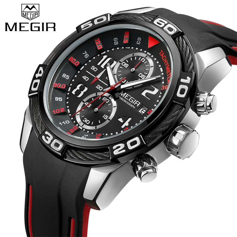 MEGIR Men's Sport quartz Watch Chronograph Army Military Waterproof Watches Male Clock Silicone Wrist Watches Relogio Masculino megir men sport watch waterproof chronograph silicone strap quartz army military watches clock luxury male relogio masculino