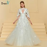 Dressv marfil largo vestido de novia con apliques de tul chaqueta Encaje flores ilusión elegante Jardín de la Iglesia vestido de novia personalizado