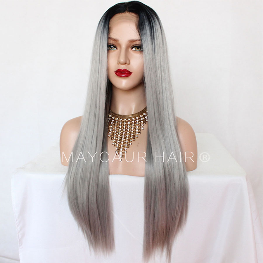 _0000_Maycaur 180 Density Gray Natural Straight  Synthetic Lace Front Wigs Black Grey Color Hair Natural Hairline (6)