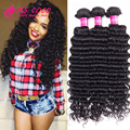 Deep Wave Brazilian Hair 3 Bundles Rosa Hair Products Brazilian Deep Wave Virgin Hair 7A Queen Beauty Curly Weave Human Hair