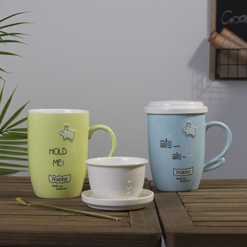 Coréen petit frais et simple dessin animé bureau tasse tasse en céramique tasse à thé en céramique avec couverture scoop B