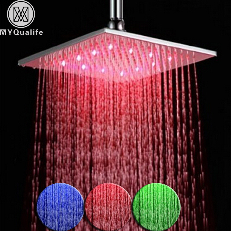 Renkli Fırçalanmış Nikel LED yağmur biçimli duş Kafa Kare Renk Değişimi Yağış Duş Başlığı Paslanmaz Çelik Gerek Pil