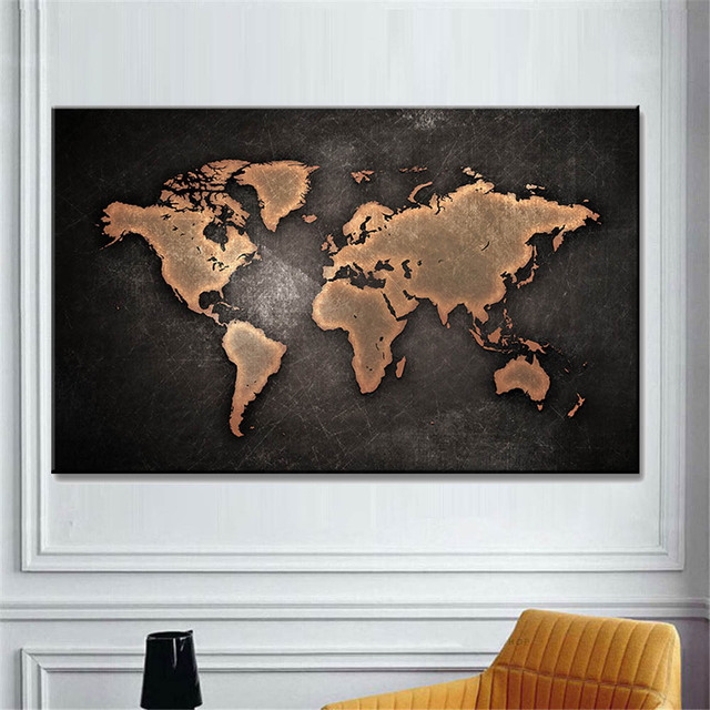 Huge Map Canvas Painting Abstract Black World Map Wall Picture For