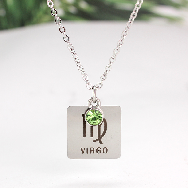12 знаков зодиака Созвездия кулон ожерелье хрусталь камень ожерелье женщины друг подарок на день рождения ювелирные изделия из нержавеющей стали - Окраска металла: 1