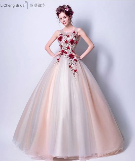 Cheap Long Wedding Dresses 2017 red flower appliques wedding gowns ...
