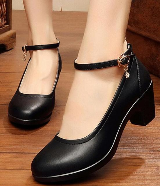 3d28e51a7cbfe office ladies ankle strap pumps women shoes woman party girls belt buckle  genuine leather female chunky med heels BY17926
