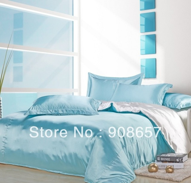 Light Blue White Mix Match Colors Smooth Tribute Silk Satin Bed Linen S Bedding Comforter Queen