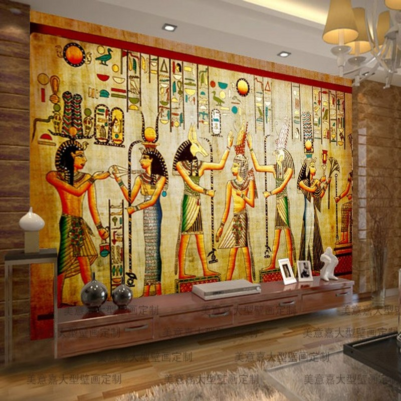 Beibehang wall papel de parede mural egyptian figures for Egyptian wallpaper mural