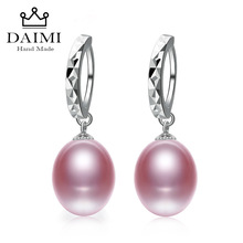 DAIMI Hot Selling 925 Sterling Silver Drop Earrings Women 8 9mm Natural Freshwater Pearl Jewelry Top