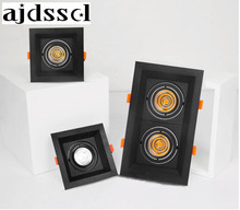 LED downlight  black-square Dimmable Led COB Ceiling led 10w 20w 30w rotating 110/220V surface mounted Indoor Lighting