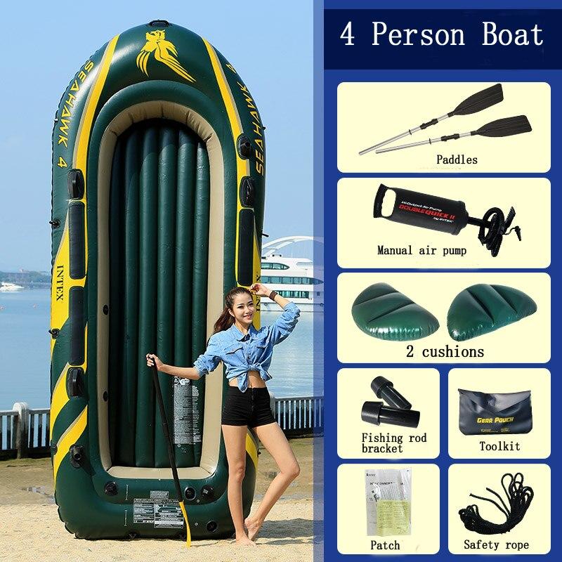 INTEX épaissi 4 personnes utiliser bateau gonflable canot de pêche kayak pliant bateau d'assaut