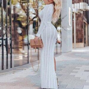 Image 2 - Bianco lavorato a maglia beach dress cover up Lunga tunica delle donne costume da bagno crochet vestito di Un spalla della copertura up Più Il formato spiaggia estate di usura 2019