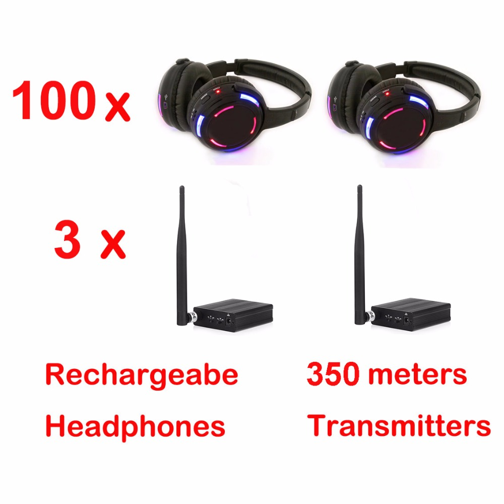 Professional 500m distance Silent Disco 100 LED Headphones with 3  transmittersProfessional 500m distance Silent Disco 100 LED Headphones with 3  transmitters