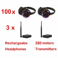 Professional 500m distance Silent Disco 100 LED Headphones with 3 transmitters