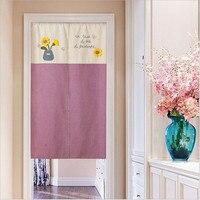 Japanese And Korean Curtain For Kitchen Cotton Linen Cartoon Curtain Door/Coffee/Restaurant Door Creative embroide Curtains