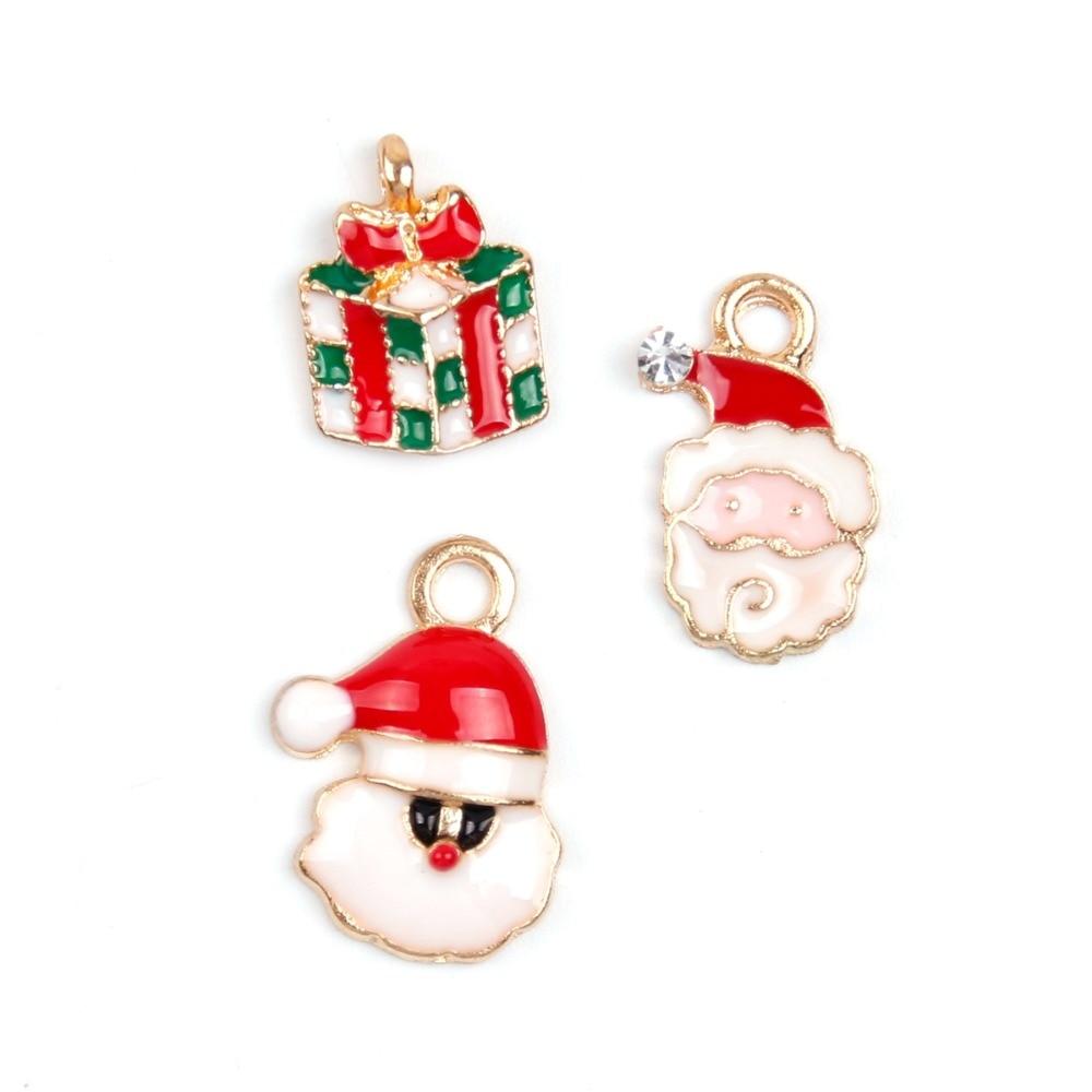 19pcs Cute Alloy Metal Mixed Christmas Tree Pendants Party Decor Ornament